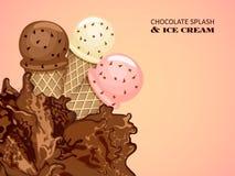 Выплеск мороженого и шоколада Стоковое фото RF