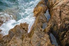 Выплеск океанской волны на видео рифа Стоковое Изображение