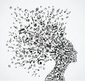 Выплеск примечаний музыки женщины головной Стоковое Изображение