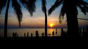 выравнивать золотистый солнечний свет тени людей Стоковое Фото