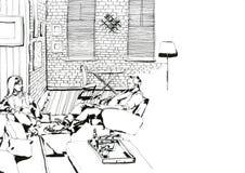Выравнивать дома черно-белое Иллюстрация вектора