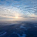 Выравнивающся над лесом зимы, взгляд сверху Стоковое Изображение