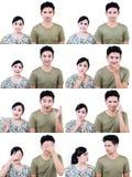 Выражение азиатских пар multi изолированное на белизне Стоковые Фотографии RF
