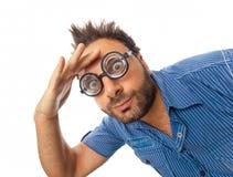 Выражение вау с стеклами глаза Стоковые Фото