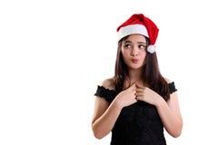 Выражение девушки рождества чувствует тревоженым принимать решениее стоковые изображения