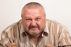 Выражение лица сердитого человека Стоковое Изображение RF