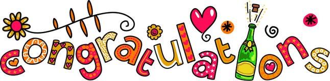 Выражение текста Doodle поздравлениям Стоковые Фото