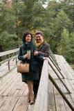 Выражение чувств Зрелые пары идя на деревянное brid Стоковое фото RF