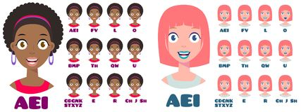 Выражения женщины мультфильма говоря иллюстрация вектора