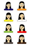 Выражения лица вектора установленные Стоковое Изображение