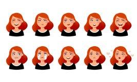 Выражения лица женщины s Милая девушка с различными эмоциями vector плоская иллюстрация 10 эмоциональных сторон для стикеров иллюстрация вектора
