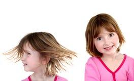 Выражения маленькой девочки изолированные на белизне Стоковые Изображения
