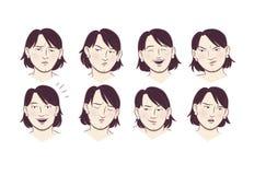 Выражения молодой женщины лицевые иллюстрация вектора