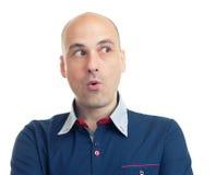 Выражения облыселого человека смотря косой страх Стоковое Изображение RF