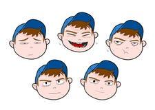 выражения персонажа из мультфильма мальчика смешные Стоковые Фотографии RF