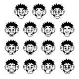 Выражения стороны обезьяны глифа Стоковая Фотография RF