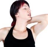 Выразительный портрет женщины которая имеет боль шеи стоковая фотография