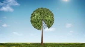 Вырастите долевая диограмма формы дерева показанный 90 процентов зеленая икона иллюстрация штока