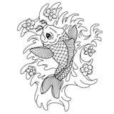 Вырезуб Koi Традиционная japonese татуировка Внезапная татуировка Иллюстрация к взрослой книжка-раскраске иллюстрация вектора