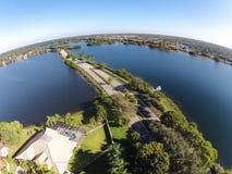 Вырезывание дороги через вид с воздуха озер Стоковое фото RF