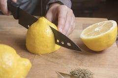 Вырезывание персоны и обрабатывать сохраненные посоленные лимоны Стоковые Фотографии RF