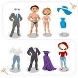 Вырезы человек игры и одежды женщины Стоковое Изображение RF