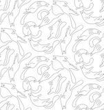 Выровняйте котов в картине вектора различных представлений безшовной Стоковые Фотографии RF