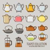 Выровнянное чайником собрание значков стоковое фото