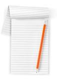 Выровнянные тетрадь и карандаш Стоковая Фотография RF