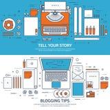 Выровнянный, иллюстрация вектора плана Плоские машинка и ноутбук с руками Скажите ваш рассказ идентификации Блоги иллюстрация вектора