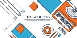Выровнянный, иллюстрация вектора плана Плоские машинка и ноутбук с руками Скажите ваш рассказ идентификации Блоги иллюстрация штока