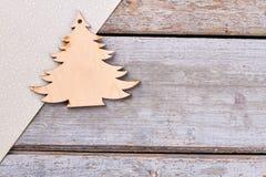 Высекаенная деревянная рождественская елка Стоковое Изображение