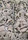 Высекаенная деревянная дверь Мьянма Стоковое Фото