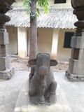 Высекаенное камнем satue быка nandi стоковые изображения rf