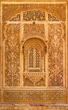Высекаенное окно в дворце Mandir, Jaisalmer, Раджастхане, Индии стоковое фото