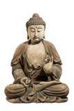 Высекаенный антиквариат Будды старый и покрасил изолированный с путем зажима Стоковые Изображения RF