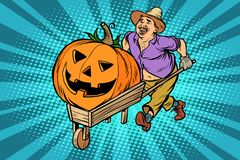 высеканная тыква halloween Фермер, человек с деревянной тачкой иллюстрация штока