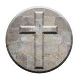 Высеканный каменный крест на круговой скошенной панели Стоковая Фотография RF