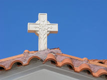 Высекать камня искусства Картина цветка на кресте Стоковые Фото