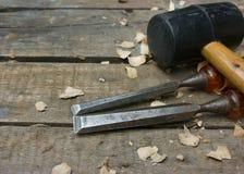 высекающ инструменты деревянные Стоковое Изображение
