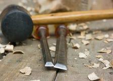 высекающ инструменты деревянные Стоковая Фотография RF