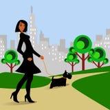 выследите женщину парка гуляя Стоковая Фотография