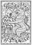 Выследите символ с heraldic украшениями, стробом ада и лентами виньетки в рамке Стоковое фото RF