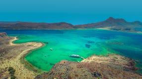 Высокая выгодная позиция на пляже Gramvousa на острове Крита, Греции стоковое изображение
