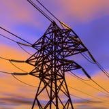 высокая линия напряжение тока захода солнца силы бесплатная иллюстрация