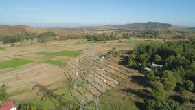 высокая линия напряжение тока силы Филиппины, Лусон Стоковые Изображения RF