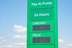 Высокая нефть и тепловозные цены на бензоколонке Стоковые Фото