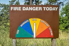 Высокая обочина опасности огня подписывает внутри Небраску стоковые фотографии rf