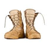 Высокие ботинки боя изолированные на белой предпосылке Стоковые Фотографии RF
