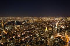Высокие здания подъема в городском пейзаже Нью-Йорка Стоковые Фотографии RF